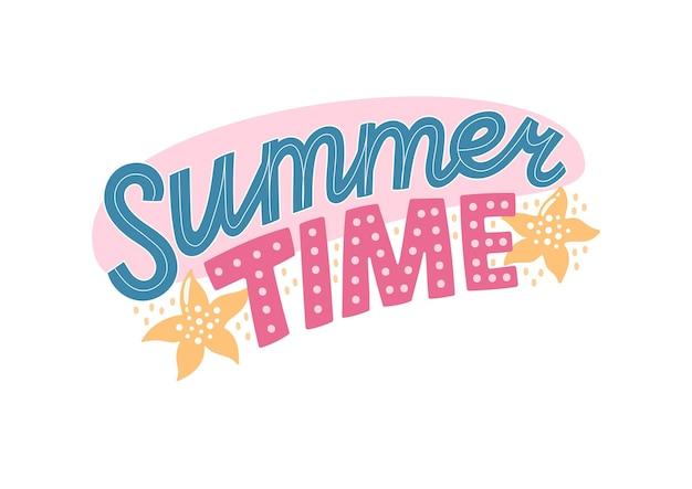 Красочные летние надписи в современном стиле. рисованное праздничное украшение. изолированные векторные иллюстрации дизайн с элементами лета.