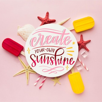 Colorful summer lettering with photo