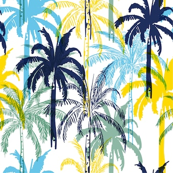 Colorful  summer palm trees on the white  forest  background