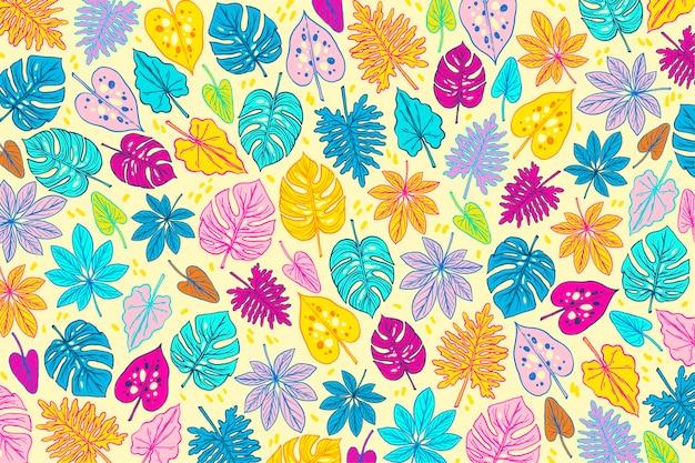 Красочный летний дизайн с листьями