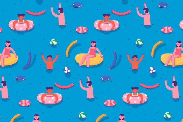Colorful summer pattern with illustrations