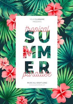 Colorful summer poster template with tropical flowers