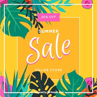 Colorful summer sale background with leaves