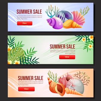 Colorful summer sale banner template set sea shell vector illustration
