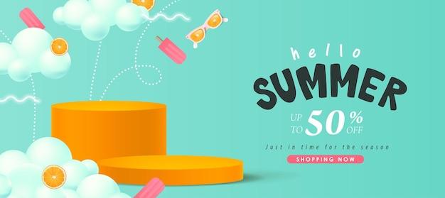 Красочный баннер летней распродажи с продуктом цилиндрической формы