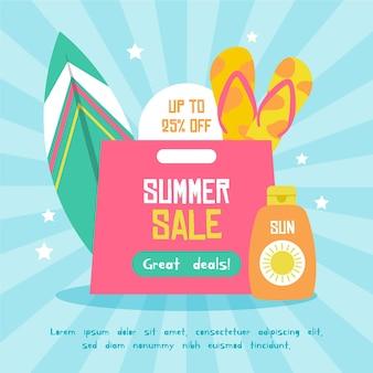 Banner di vendita estate colorata Vettore gratuito