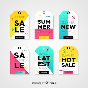 Collezione di etichette colorate estate vendita