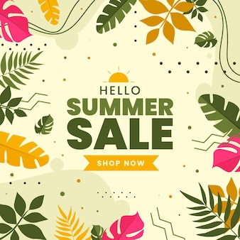 Colorful summer sale with leaves