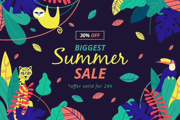 Colorful summer sale with monkey and leaves