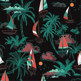 Colorful summer seamless pattern island with boat