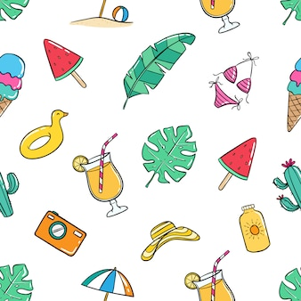 Colorful summer seamless pattern with doodle style