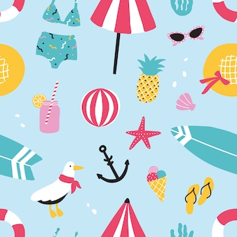 Colorful summer seamless pattern with hand drawn elements pineapple, ice cream, seagull, surfboard, ball, swimwear, hat, beach umbrella, sunglasses, lifebuoy, starfish, drink, flip flops, anchor.