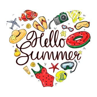Красочный летний набор на белом фоне изолированных. привет лето.