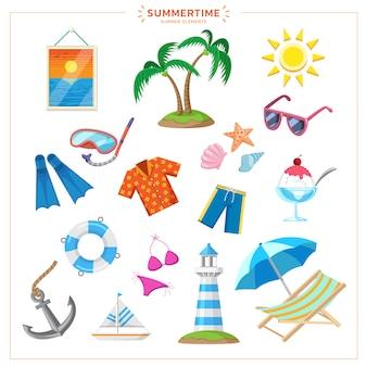 코코넛 나무, 선글라스, 꽃 무늬 셔츠, 수영복, 다이빙 장비, 비치 의자 및 차가운 음료수와 같은 많은 귀여운 요소로 설정된 다채로운 여름.
