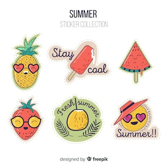 Colorful summer sticker collection