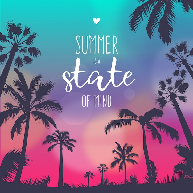 Colorful Summer Sunset Background with Quote
