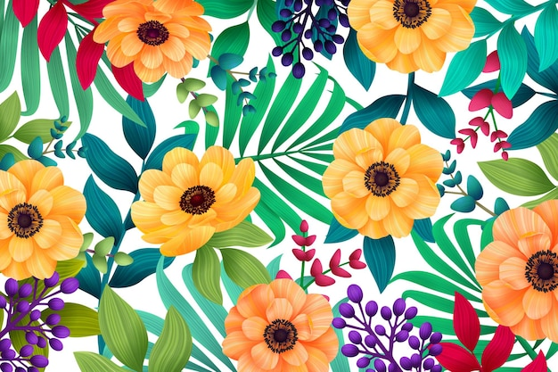 Colorful summer tropical background with exotic palm leaves and hibiscus flowers