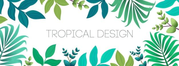 エキゾチックなヤシの葉とカラフルな夏の熱帯の背景