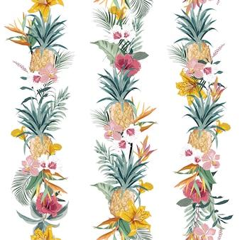 Красочный летний тропический экзотический лес с цветущими летними цветами и фруктами создают линию вертикальной полосы