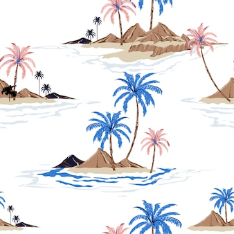Colorful summer tropical island hand drawing style seamless pattern in vector