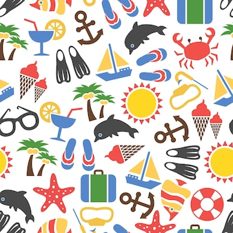 Colorful summer vacation seamless pattern