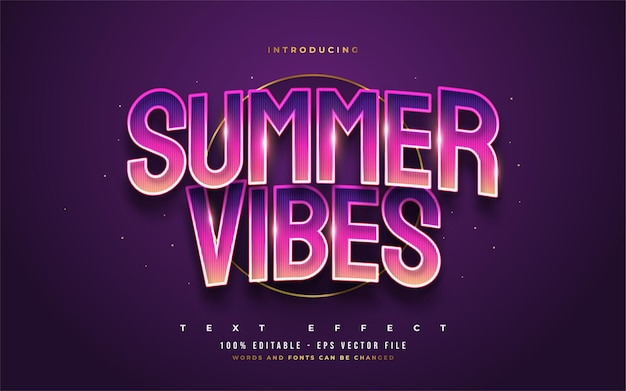 Colorful summer vibes text with curved and embossed effect. editable text style effect