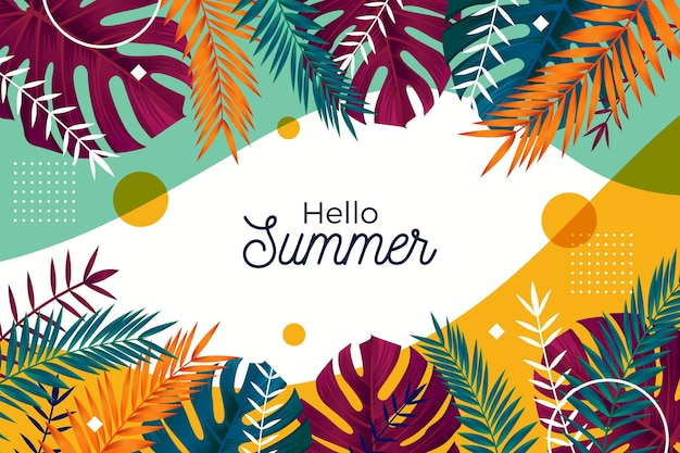 Colorful summer wallpaper with leaves