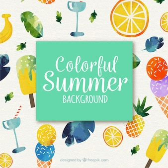 Colorful summer with watercolor style