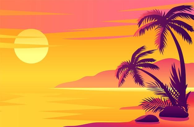 Красочное солнце садится на тропический пляжный остров с пальмами