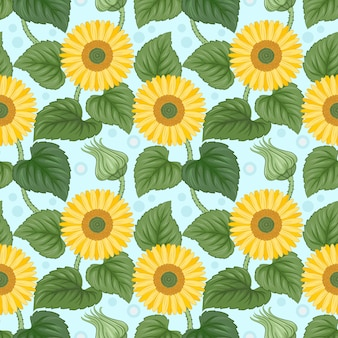 Colorful sunflowers seamless pattern on blue.