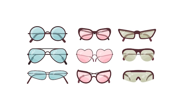 Colorful sunglasses  set. spectacles plastic frame collection. summer sun protection.