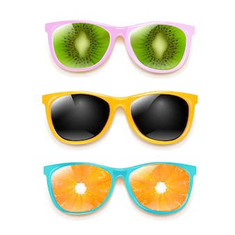 Colorful sunglasses set  white background