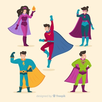 Colorful super heroes illustrations