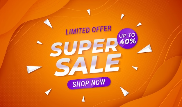 Colorful super sale background with abstract shapes