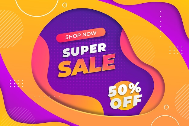 Colorful super sale background with discount
