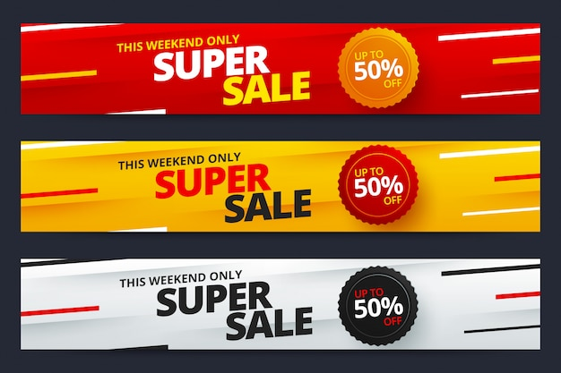 Colorful super sale and discount banners
