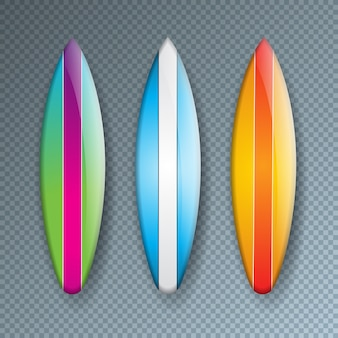 Colorful surf board collection isolated on transparent