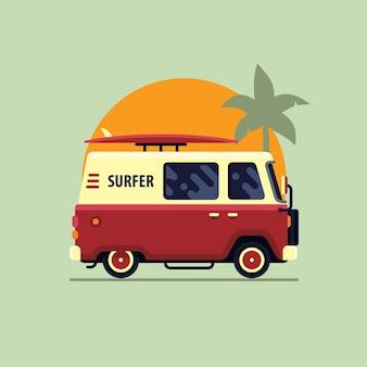 Colorful surf van flat style vector illustration