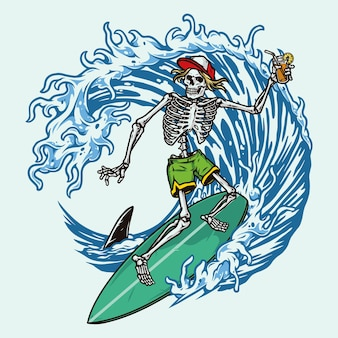 Colorful surfing with skeleton in baseball cap and shorts holding cocktail and riding wave isolated