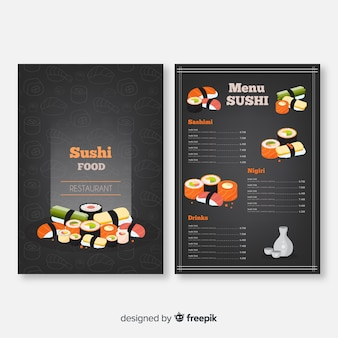 Colorful sushi restaurant menu template