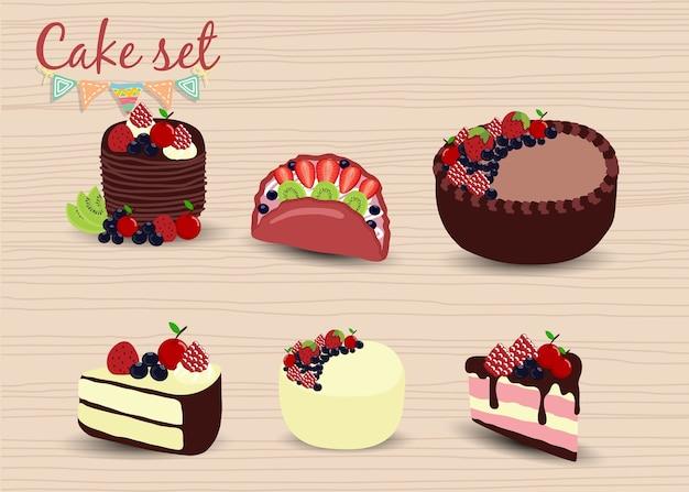 カラフルな甘いケーキセット。誕生日ケーキ