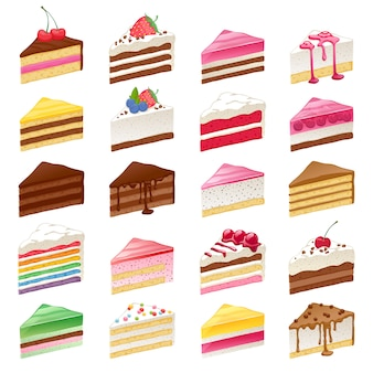 Colorful sweet cakes slices set  illustration.