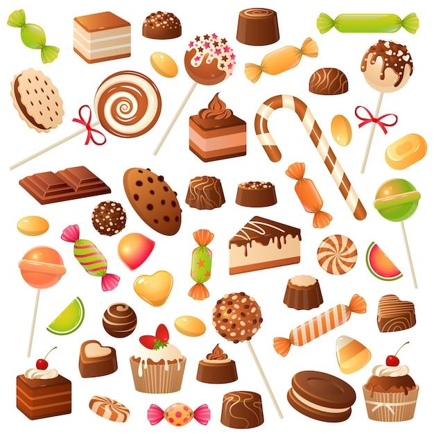 フラットなデザインのカラフルな甘いお菓子