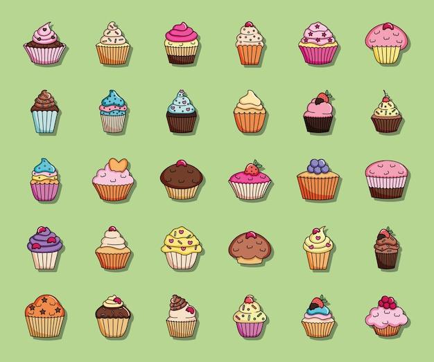 緑の背景、イラストの上に設定されたカラフルな甘いカップケーキ