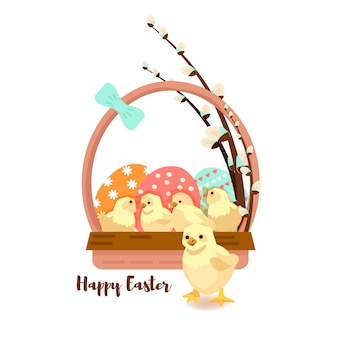Colorful sweet happy easter greeting card.