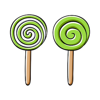 Colorful sweet lollipops icons set