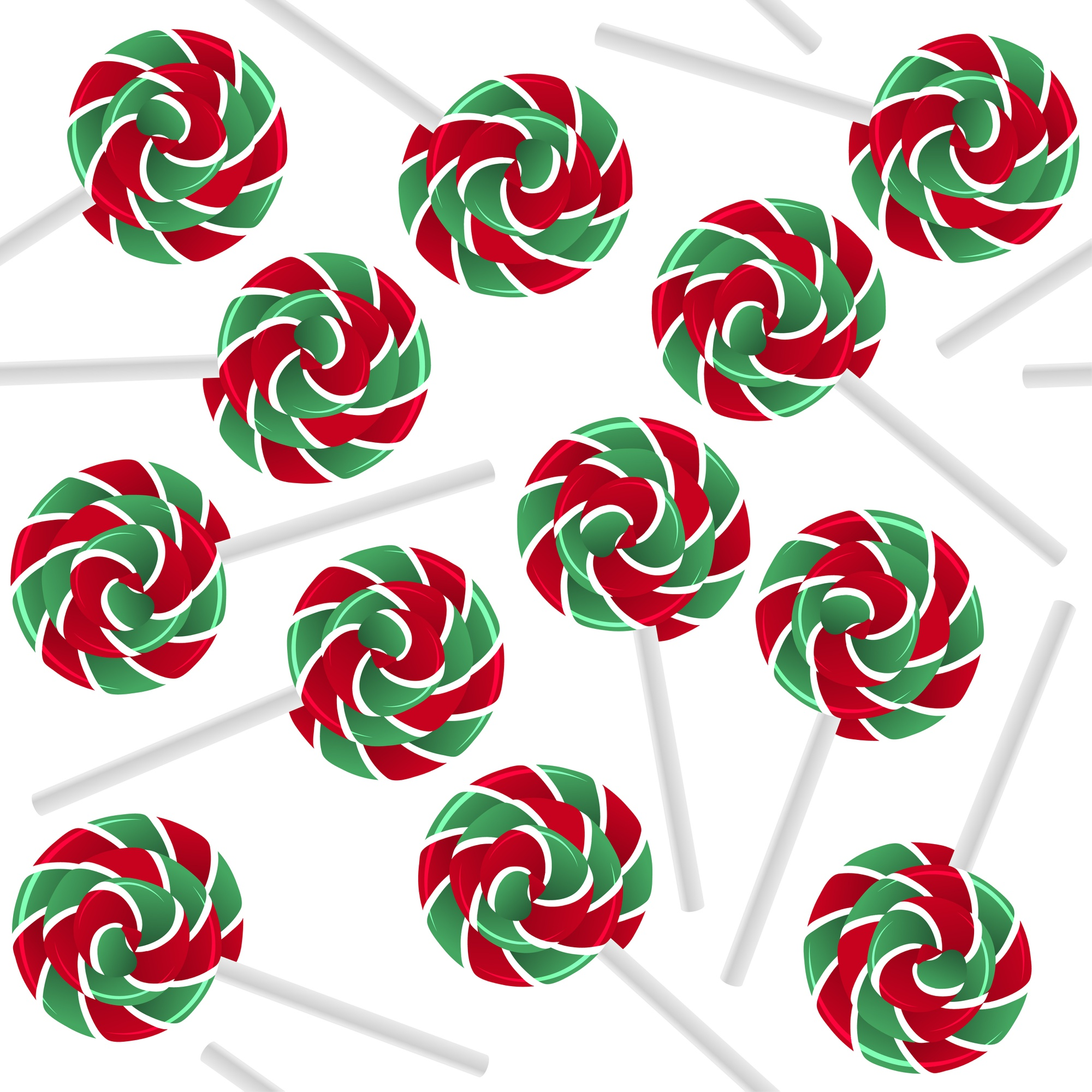 Colorful sweet lollipops seamless pattern. Candy red and green background.