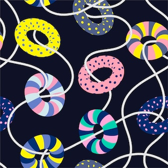 Colorful sweet patel mood of summer swim ring and nautical rope seamless pattern