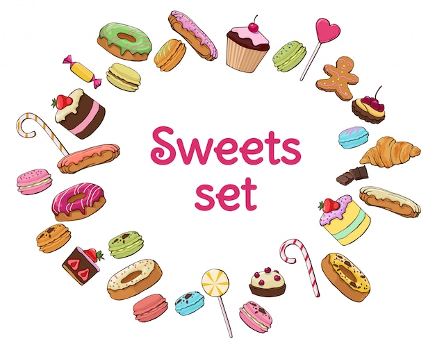 Colorful sweet products set