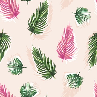 Colorful sweet watercolor seamless pattern with tropical leaves: palms,